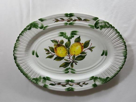 Ceramiche Barettoni Nove - VASSOIO IN CERAMICA DECORATO A MANO CON LIMONI