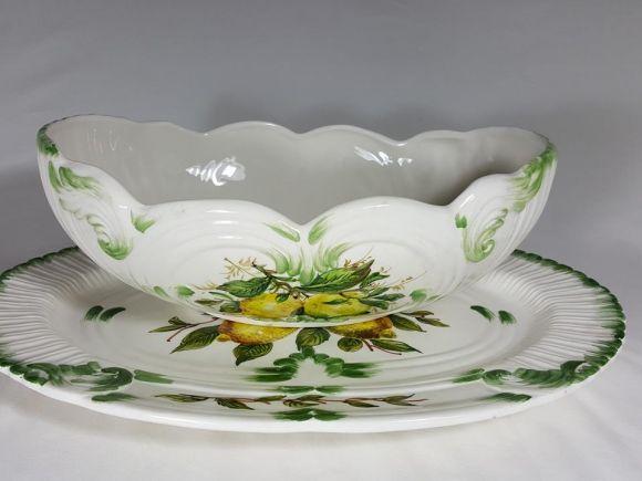 Ceramiche Barettoni Nove - COPPA IN CERAMICA OVALE DECORATA A MANO CON LIMONI