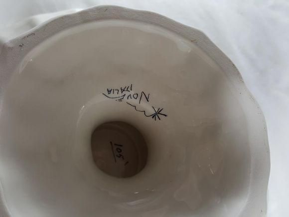 Ceramiche Barettoni Nove - ALZATA COPPA IN CERAMICA DECORATA A MANO CON LIMONI, PEZZO UNICO