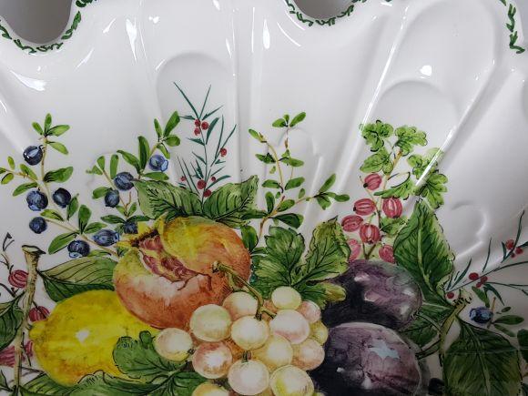 Ceramiche Barettoni Nove - COPPA CENTROTAVOLA IN CERAMICA FATTA E DECORATA A MANO CON FRUTTA