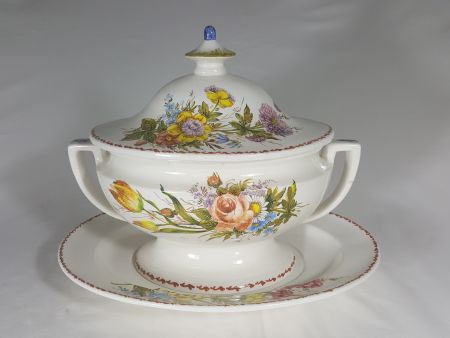 CERAMIC SOUP TUREEN DECORATED BY HAND WITH FLOWERS
