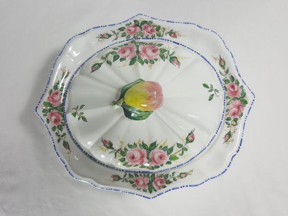 Ceramiche Barettoni Nove - ALZATINA CON COPERCHIO DEC. ROSELLINE