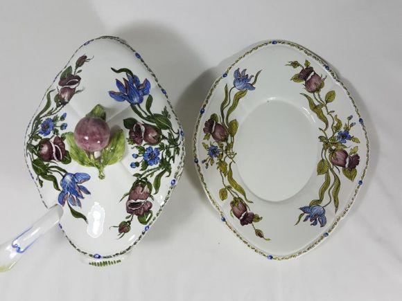 Ceramiche Barettoni Nove - T607 - ZUPPIERA DECORO TULIPANI VIOLA
