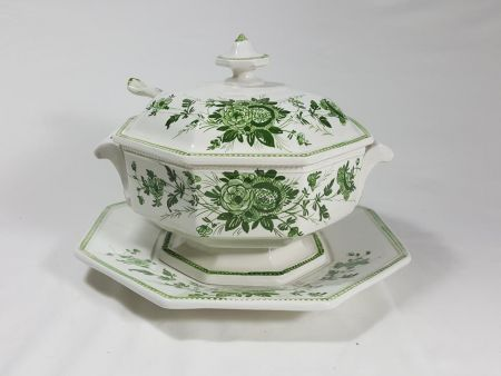 ANCIENT CERAMIC SOUP TUREEN, ANTIQUE VINTAGE OBJECT DECORATED WITH GREEN FLOWERS