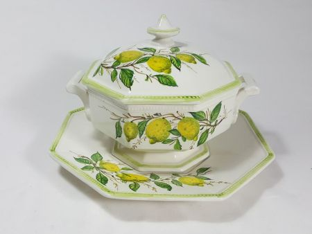 ANCIENT CERAMIC SOUP TUREEN, ANTIQUE VINTAGE OBJECT DECORATED WITH LEMONS
