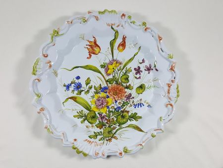 VINTAGE LARGE PLATE IN MAJOLICA OF THE SECOND HALF OF TWENTIETH CENTURY