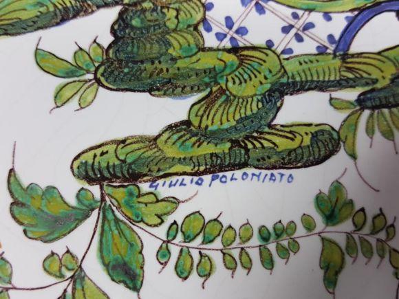 """Ceramiche Barettoni Nove - PIATTO IN MAIOLICA DELLA SECONDA META' DEL NOVECENTO CON DECORO PERSIANO O """"PONTICELLO"""""""
