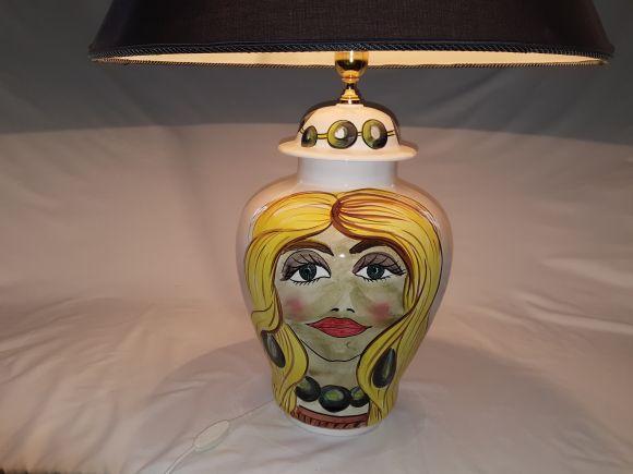 Ceramiche Barettoni Nove - DESIGN, LAMPADA LISCIA MODERNA IN CERAMICA DECORATA CON VISO DI DONNA, FASHION