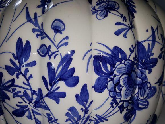 Ceramiche Barettoni Nove - VASO IN CERAMICA DECORATO A MANO DELFT BLU PEZZO UNICO