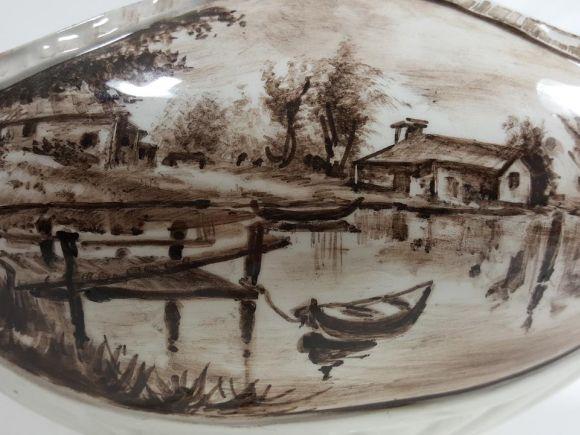 Ceramiche Barettoni Nove - COPPA IN CERAMICA DECORATA A MANO PEZZO UNICO ARTIGIANATO ARTISTICO