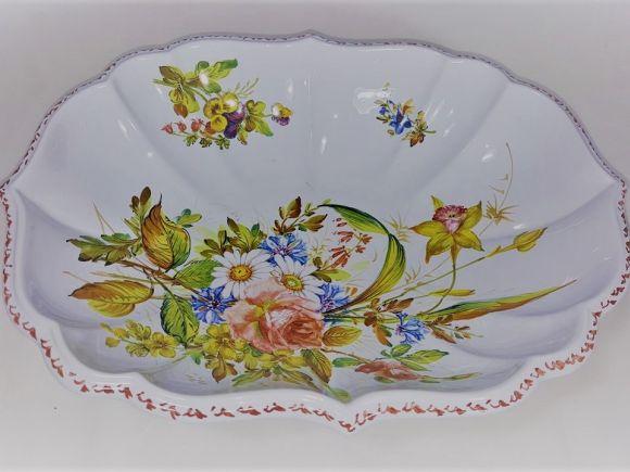 Ceramiche Barettoni Nove - COPPA FRUTTIERA IN CERAMICA OVALE FATTA E DECORATA A MANO