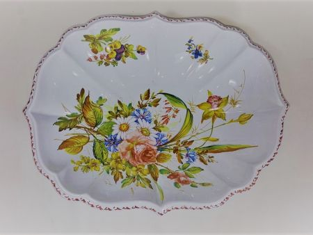 CERAMIC OVAL BOWL DECORATED BY HAND WITH FIORI NOVE