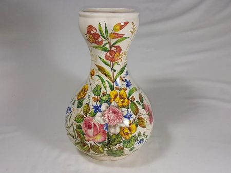 ANCIENT CERAMIC VASE, ANTIQUE VINTAGE OBJECT DECORATED WITH FIORI NOVE