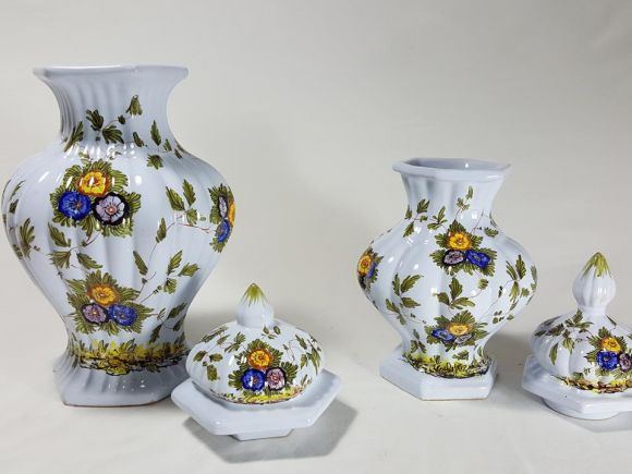 Ceramiche Barettoni Nove - COPPIA DI VASI IN MAIOLICA DEL NOVECENTO ANTIQUARIATO VINTAGE