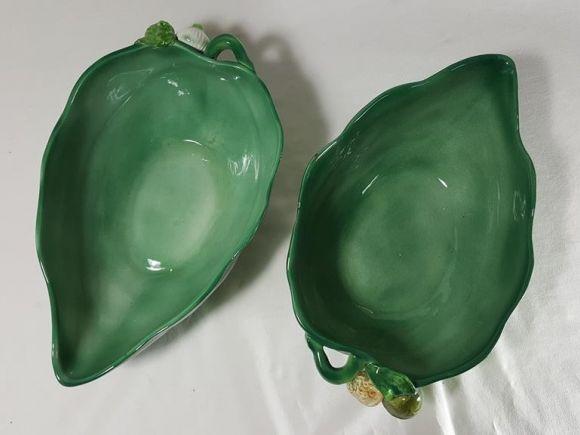 Ceramiche Barettoni Nove - ANTICHE COPPE A FOGLIA IN CERAMICA SMALTATA DEL NOVECENTO CON VEGETALI