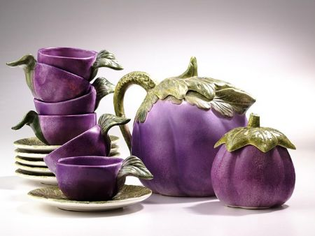CERAMIC COFFEE AND TEA SET EGGPLANT