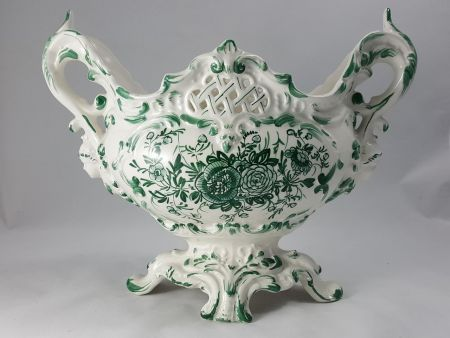 CERAMIC FURNISHING GREEN HAND PAINTING, UNIQUE PIECE