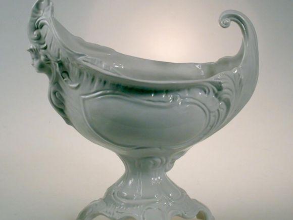 Ceramiche Barettoni Nove - COPPA IN CERAMICA BIANCA ARTIGIANATO ARTISTICO DECORATIVO