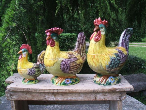 Ceramiche Barettoni Nove - ZUPPIERA A GALLO E GALLINA IN CERAMICA