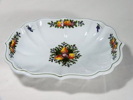 OVAL CERAMIC BOWL DECORATED BY HAND WITH FRUITS, '700 STYLE
