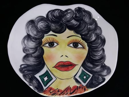 FASHION WALL DECORATION IN CERAMICS - MODERN HAND DECORATED PLATE WITH WOMAN FACE