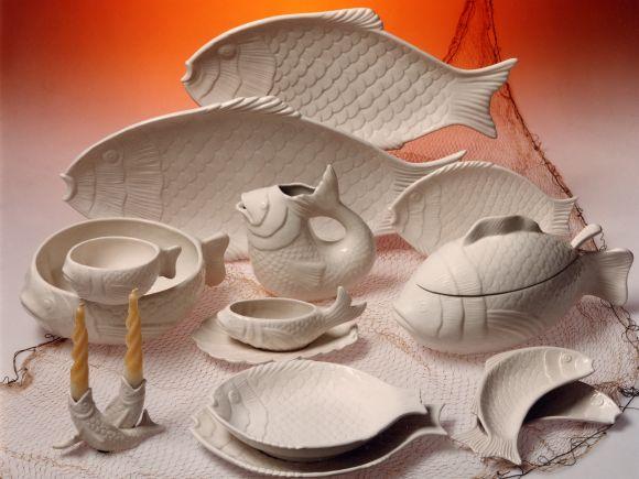 Ceramiche Barettoni Nove - SERVIZIO DI PIATTI DA TAVOLA A PESCE IN CERAMICA BIANCO