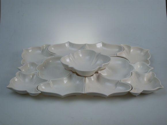 Ceramiche Barettoni Nove - ANTIPASTIERA IN CERAMICA BIANCA COMPONIBILE PER BUFFET 11 PEZZI