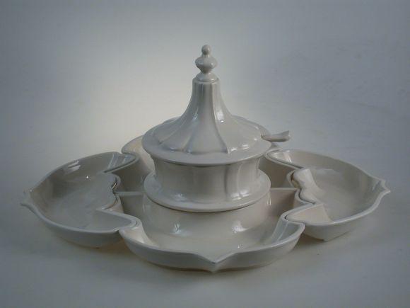 Ceramiche Barettoni Nove - ANTIPASTIERA IN CERAMICA BIANCA PER APERITIVI E COCKTAIL 6 PEZZI